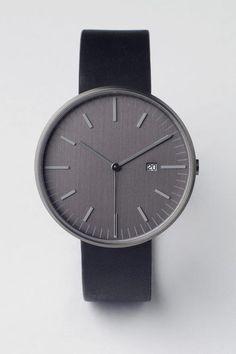 203 Series PVD Gun Grey / Black Leather