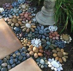 Brilliant Rock Garden Landscaping Ideas For Front Yard - Déco jardin - gardening Pebble Mosaic, Mosaic Diy, Mosaic Garden, Rock Mosaic, Pebble Garden, Mosaic Walkway, Bird Bath Garden, Garden Yard Ideas, Garden Paths