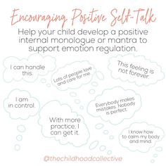 """The Childhood Collective on Instagram: """"Time and time again, parents raising exceptional kids tell us that one of the most challenging parts of parenthood is hearing their child…"""" Speech Language Pathology, Speech And Language, Internal Monologue, Adhd And Autism, Negative Self Talk, Monologues, Behavior Management, Psychology, Encouragement"""