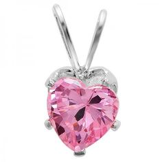 0.75 CT Sterling Silver 6mm Pink Cubic Zirconia CZ Solitaire Heart Shape Pendant - Dazzling Rock #https://www.pinterest.com/dazzlingrock/
