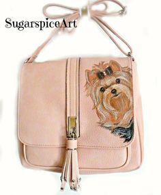 Yorkie Pink Hand Painted Handbag Purse Shoulderbag Dog Art SugarspiceArt