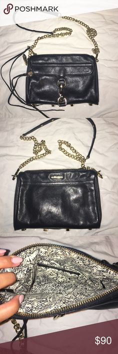 """Rebecca Minkoff 'Mini Mac' Crossbody This bag is in excellent used condition. There is minor scuffing on the feet of the bag (gold hardware on the bottom that keeps the leather off the ground) and a mark inside which can be seen in picture #4. This bag is black leather with gold hardware. None of the tassels are missing. It comes from a smoke and pet free home. I am the first owner. Dimensions: 9""""W x 6""""H x 2""""D. Currently on sale brand new at Nordstroms for $126.75 (was $195) Rebecca Minkoff…"""