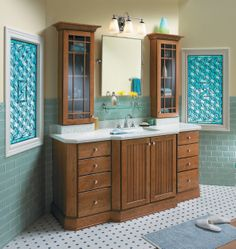 Bathroom Inspiration: Merillat Classic® Avenue in Cherry Cider Oak Bathroom Vanity, Kitchen Vanity, Bathroom Wall Cabinets, Small Bathroom Vanities, Modern Bathroom Design, Kitchen Design, Bathroom Designs, Bathroom Ideas, Modern Design