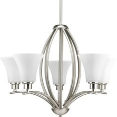 Gleeful simplicity defines this five-light chandelier from the Joy Collection. Refreshing and fashionable arcing forms of Antique Bronze metal arms enhance the etched white fluted glass. Coordinating fixtures from this collection let you decorate an entire home with confidence and style. Unique stem-hung construction carries the clean line all the way to the ceiling and, for sloped ceilings, six feet of 9 gauge chain is provided to allow the fixture to hang straight and level.Features…