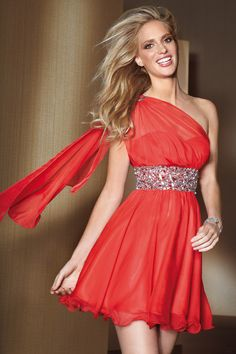 red Silky Chiffon short dresses 2012 collections