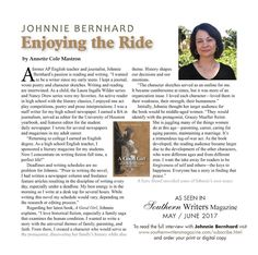 Johnnie Bernhard - Enjoying the Ride - Southern Writers Magazine http://loiaconoliteraryagency.com/johnnie-bernhard-enjoying-the-ride-southern-writers-magazine