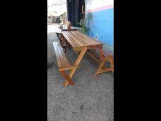 Banco que vira mesa Moveis Monteiro - YouTube