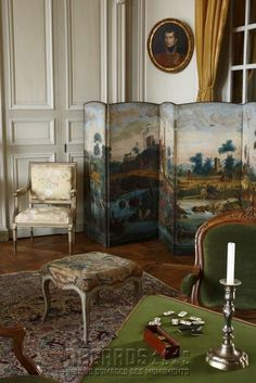 [source: www. Portfolio Collection of Regional Monuments] love the mural French Decor, French Country Decorating, Country French, Beautiful Space, Beautiful Homes, Monuments, Table Games, Game Tables, Decorative Screens
