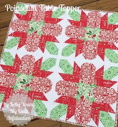 = tutorial = Poinsettia Table Topper by Kelly Young as seen at Fort Worth Fabric Studio