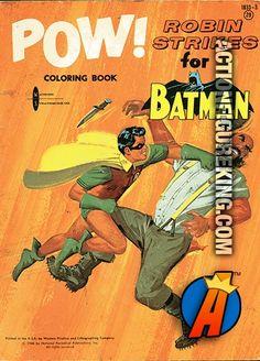 Pow! Robin Strikes for Batman 1966 Watkins Strathmore 100-page Coloring Book. #batman #robin #watkinsstrathmore #goldenbooks #coloringbooks