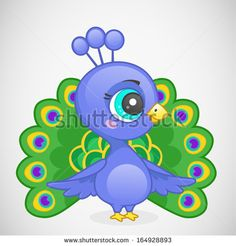 Cute Cartoon Baby Peacock | Peacock cartoon Stock Photos, Illustrations, and Vector Art