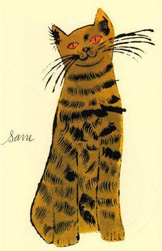 Cats Named Sam by Andy Warhol. Andy Warhol prints for sale at Guy Hepner. NYC art gallery featuring pop art, urban art, street art and photography. Art Pop, Tier Zoo, Andy Warhol Art, Illustrator, Modern Pop Art, Street Art, Yellow Cat, Cat Names, Gustav Klimt