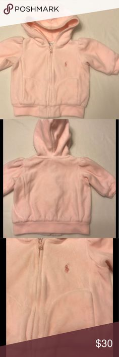 Ralph Lauren Baby Pink Hooded Sweatshirt 3 Month Ralph Lauren * 3 Month * Velour * Pink Hooded Sweatshirt * Lined * Gathers at Shoulder * Zip Closure * Shell is 80% Cotton/20% Polyester * Lining is 100% Cotton   Visit @KellysCache for Women's Fashion   Visit my Hubby's Closet @MensStyleHouse for Top Brand Men's Fashion Ralph Lauren Shirts & Tops Sweatshirts & Hoodies