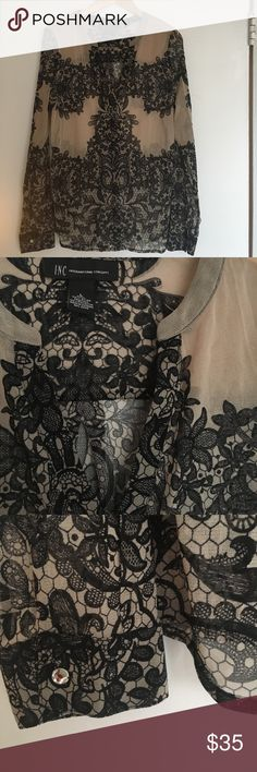 NEW LISTING - INC lace-print tunic Wonderful sheer layer with crystal buttons at cuffs, causal collar, and enticing lace print on tanned skin-tone. Perfect condition! Listed 5/7/17 INC International Concepts Tops Tunics
