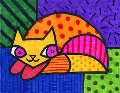 Romero Britto Cat | Art Projects for Kids It'd be cool to combine this with zentangling.