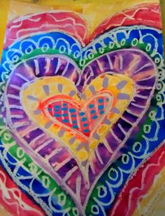 What's Happening in the Art Loft St. Ann School of Cape Ann: First Grade Hearts after Jim Dine