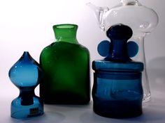 """Bertil Vallien """"Blå Serien"""" (Blue Series) salt shaker and jar for Afors/Boda"""