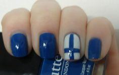 Finnish flag nail art.