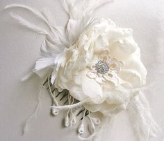 Ivory Wedding Fascinator Bridal Hair Flower by FancieStrands, $65.00