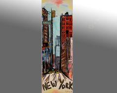 tableau peinture originale urbaine  New York city par Celinemodernart sur Etsy
