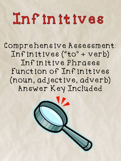 Infinitive Assessment (Verbals) from MasteringMiddleSchool on TeachersNotebook.com -  (4 pages)  - Perfect for the Common Core Standard L.8.1A!  This is a complete assessment of infinitives.  The assessment is two pages long, and a complete answer key is included.