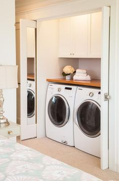 Trendy bathroom closet redo washer and dryer ideas Small Laundry Closet, Laundry Room Doors, Laundry Room Remodel, Laundry Room Organization, Laundry Room Design, Kitchen Remodel, Closet Redo, Master Bedroom Closet, Bathroom Closet