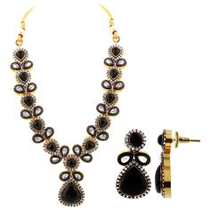 Gold Plated Simulated Black Onyx Indian Ethnic Earrings Necklace Set. The Color of the stones is Black Onyx and Clear. There is Blue Enamel Around on Necklace S