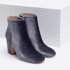 NWT RARE ZARA VELVET BLUE/GRAY ANKLE BOOT SIZE 6 SIZE 6 Zara Shoes Ankle Boots & Booties