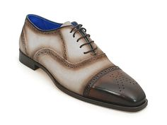 Paul Parkman Men's Dress Shoes Beige & Brown Leather Upper & Leather Sole