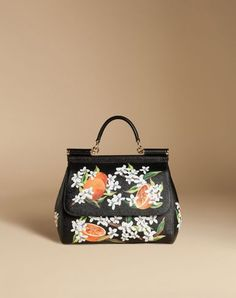 MEDIUM SICILY BAG IN PRINTED DAUPHINE LEATHER - Dolce Gabbana Online Store  - Summer 2016 Black Handbags d648ff554f