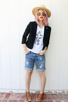 13 Ways to Wear Long Shorts and Still Look Stylish. Great idea for places with a dress code