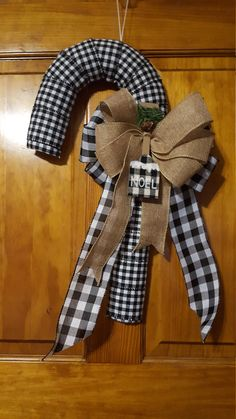 Buffalo Plaid Candy Cane Wreath, Black and White Plaid Candy Cane, This glorious Rustic Country Christmas ribbon covered Candy Cane Wreath is festive and ready to hang for the holidays. This Buffalo Plaid Wreath is a 21 Christmas Wired Ribbon, Christmas Tree Bows, Christmas Towels, Christmas Candy, Holiday Wreaths, Country Christmas Decorations, Christmas Parties, Christmas Things, Christmas Items