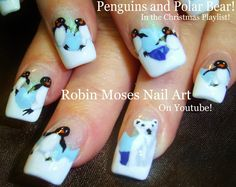 "Robin Moses Nail Art: ""penguin nails"" ""penguin nail art"" ""polar bear nails"" ""polar bear nail art"" ""nail art"" ""winter nail art"" christmas holiday nails"