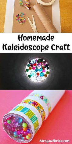 Looking for a fun kids project? Inspire creativity with this easy homemade kaleidoscope craft using a paper towel tube (or another cardboard tube), beads, and aluminum foil. Kids crafts are the… At Home Crafts For Kids, Diy Crafts For Kids Easy, Fun Projects For Kids, Paper Crafts For Kids, Craft Activities For Kids, Diy Gifts For Kids, Craft Kids, Family Activities, Crafts For Children