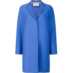 Harris Wharf London 'Cocoon' single breasted coat (£385) ❤ liked on Polyvore featuring outerwear, coats, blue, cocoon coat, wool coat, single-breasted trench coats, blue wool coat and single breasted wool coat