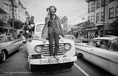 The streets of San Francisco's Haight-Ashbury district were taken over by idealistic and left-leaning young people, including Krishna¿s Kirtan, a sacred chant music group, pictured on a Diggers truck during the Ratha-Yatra Festival on July 9, 1967. The Diggers were a legendary theatrical group of activists who opened a Free Store and Free Clinic