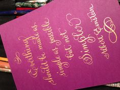 Gold calligraphy, violet and gold calligraphy