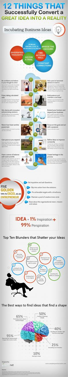 From epic business idea to realized dream -->12 Highly Actionable keys to make it so. #infograph #startups