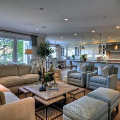 sectional, chairs, ottomans