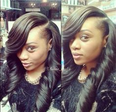 Deep side part with big spiral curls!! Heart it....