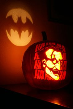 Batman and Joker Halloween pumpkin carving.