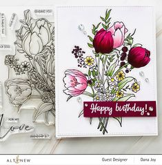 Purple Tulips, White Tulips, Tulips Flowers, Stamp Making, Card Making, Meaning Of Perfect, Outline Images, Altenew Cards, Flower Stamp