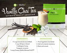 Vanilla Chai Tea Ultimate ProFit Smoothie Recipe: Using It Works! Protein Shakes, Protein Shake Recipes, Smoothie Recipes, Drink Recipes, Baking Recipes, Profit Recipes, It Works Shakes, Chai Tea Smoothie, Vanilla Chai Tea