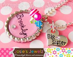 Personalized Girl's Charm Necklace Pink Big Sister Little Sister Bottle Cap Children's Jewelry Easter Basket Present Gift