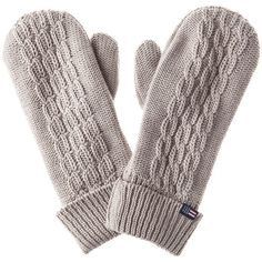 Lexington Palmdale Mitten - Feather Gray (970 MXN) ❤ liked on Polyvore featuring accessories, gloves, grey, cable knit gloves, mitten gloves, gray gloves, cable knit mittens and grey gloves