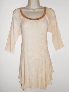 Free People M Boho Thin Knit Top Tunic Stretchy Medium Ivory Brown Sweater #FreePeople #KnitTop