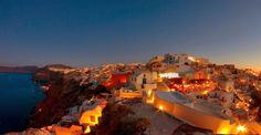 Warm, glowing, inviting, Grecian landscape in evening.