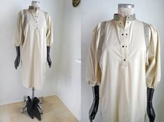 Vintage+80s+dress+Dress+Natural+beige+color+by+SuitcaseInBerlin