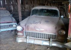 GTO & '55 Chevy waiting to shine again.
