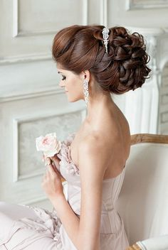 long wavy wedding updo hairstyle